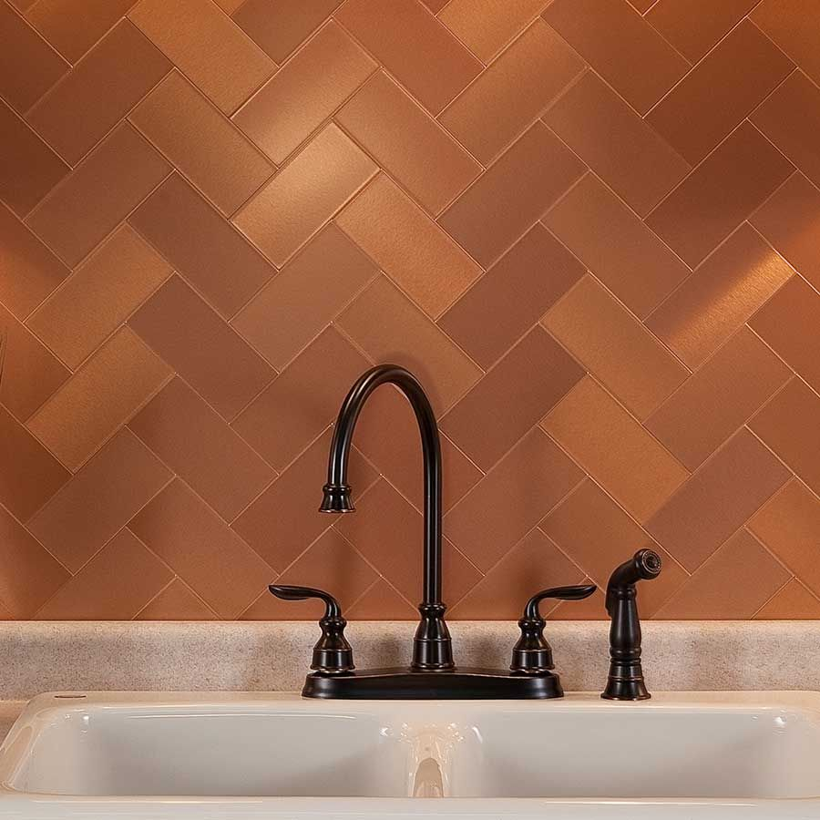 L And Stick Metal Tiles In Brushed Copper With Short Grain Description From