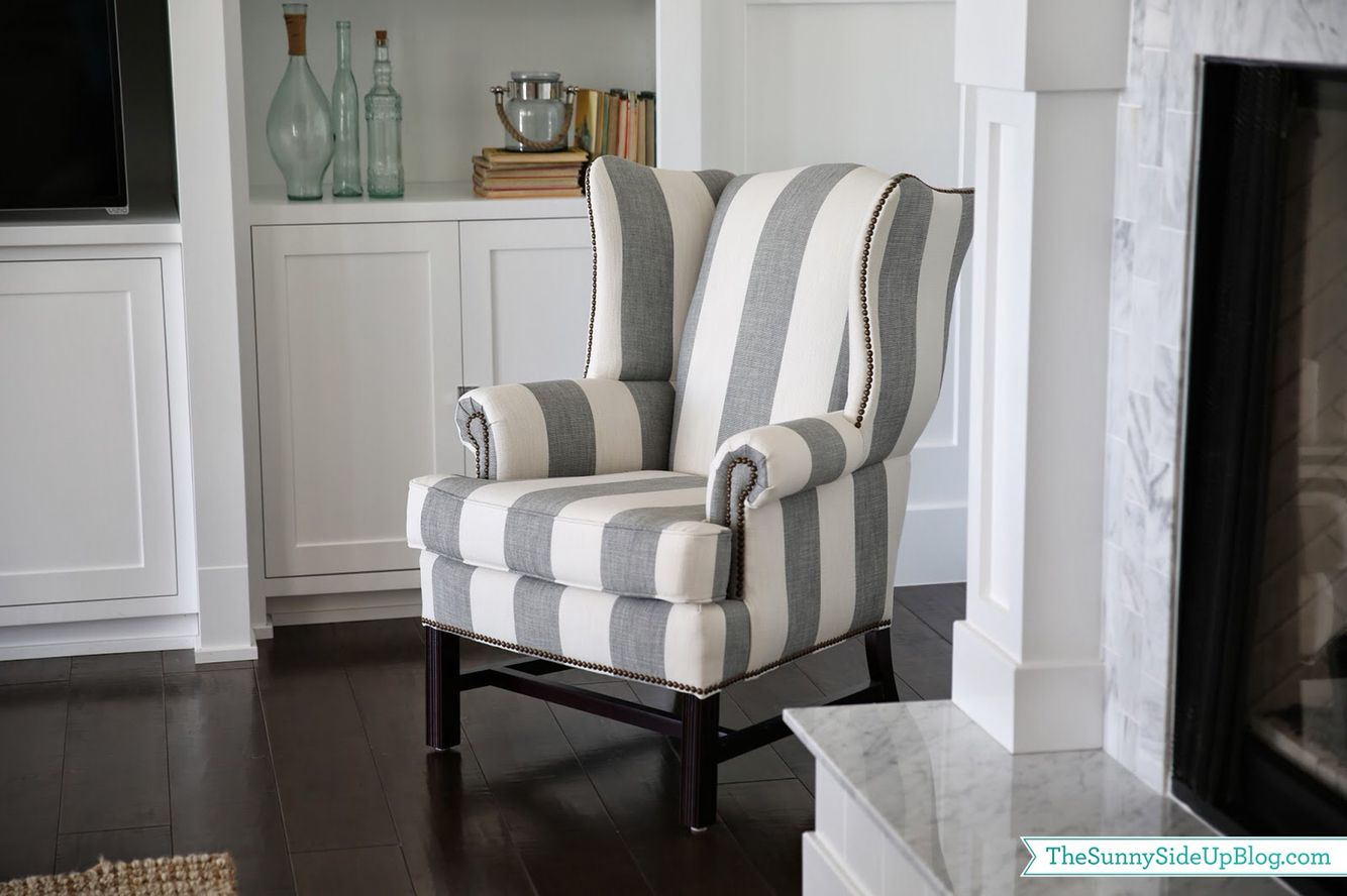 Grey And White Striped Wingback Chair Wingback Chair Chair