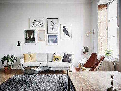 Kantoor in een Scandinavische woonkamer | Home decor // Living room ...