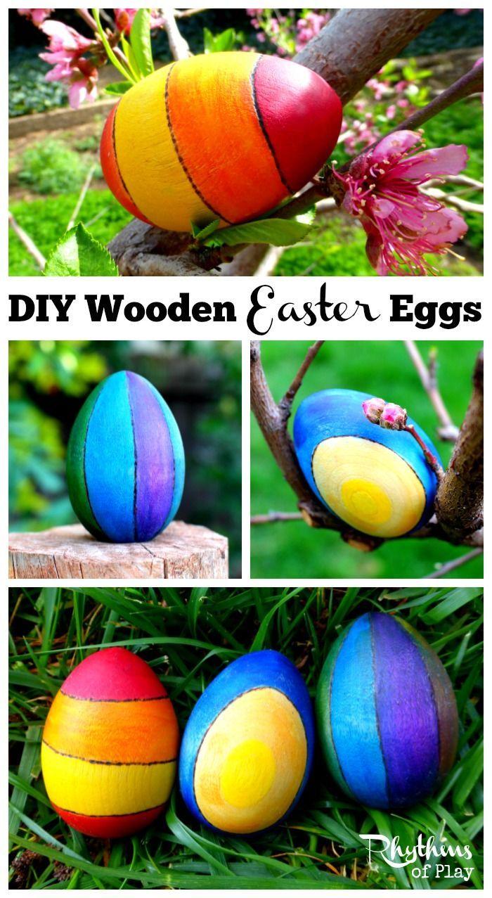 Craft Ideas For Older Kids Part - 25: DIY Wooden Easter Eggs Craft Idea