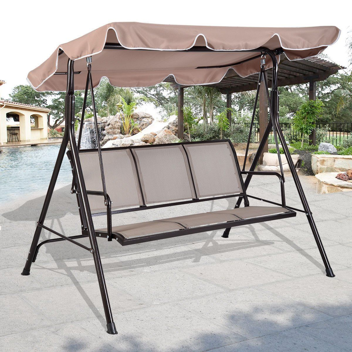 Giantex 3 Person Outdoor Patio Swing Canopy Awning Yard Furniture Hammock  Steel Beige