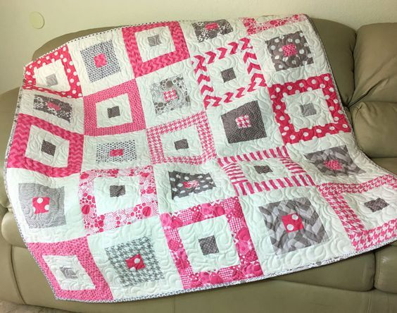 Pink Gray Baby Girl Quilt, Baby Shower Gift, Quilted Baby Blanket, Nursery Quilt, Pink Grey Flannel Back Quilt