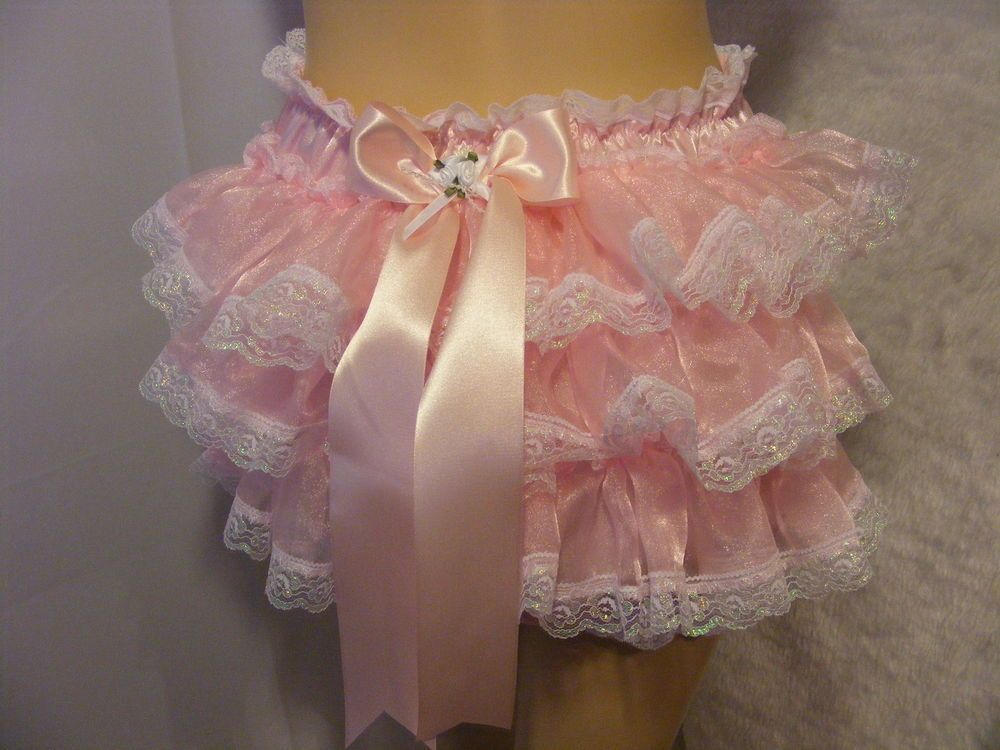 Pink ruffle bum frilly sissy adult baby panties knickers diaper cover 25b4c5f08