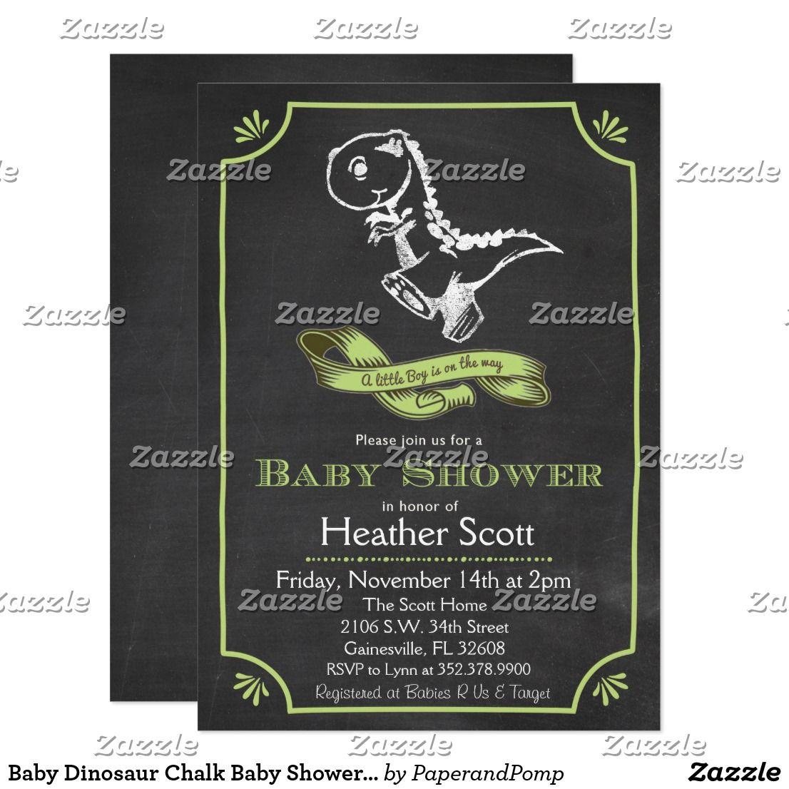 Baby Dinosaur Chalk Baby Shower Invitation | Shower invitations