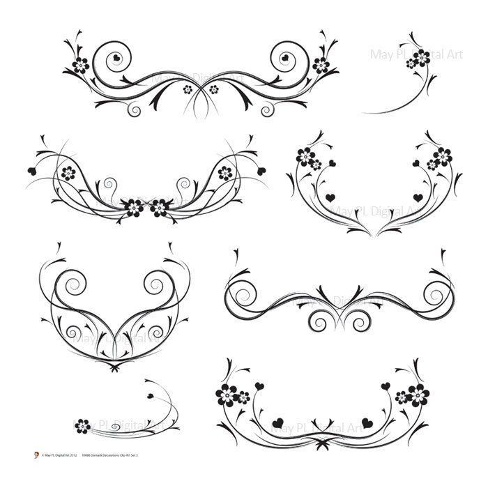 Wedding Flower Line Drawing : Decorative black vines png featuring floral flourish
