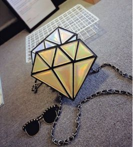 Candy Color Diamond Shaped Inclined Shoulder Bag Gold pas cher