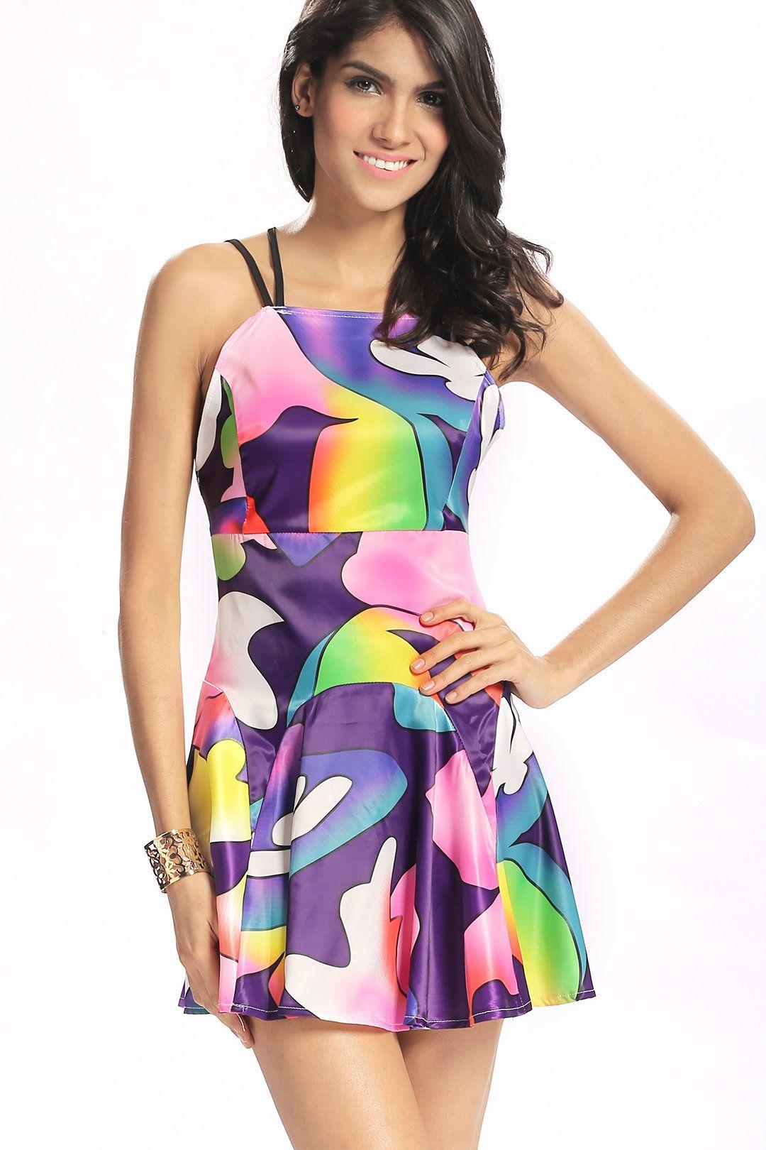 Backless Fantasy Colour Pattern Dress -YOINS