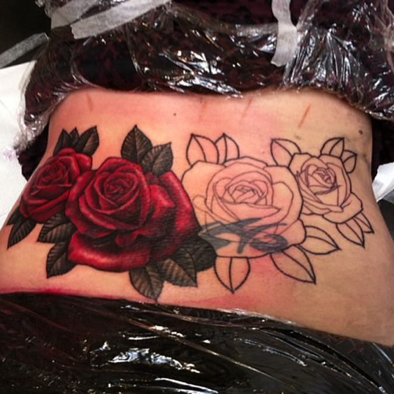 Dark Red Roses With Black Leaves Up Tattoos Cover Tattoo Tribal Tattoo Cover Up