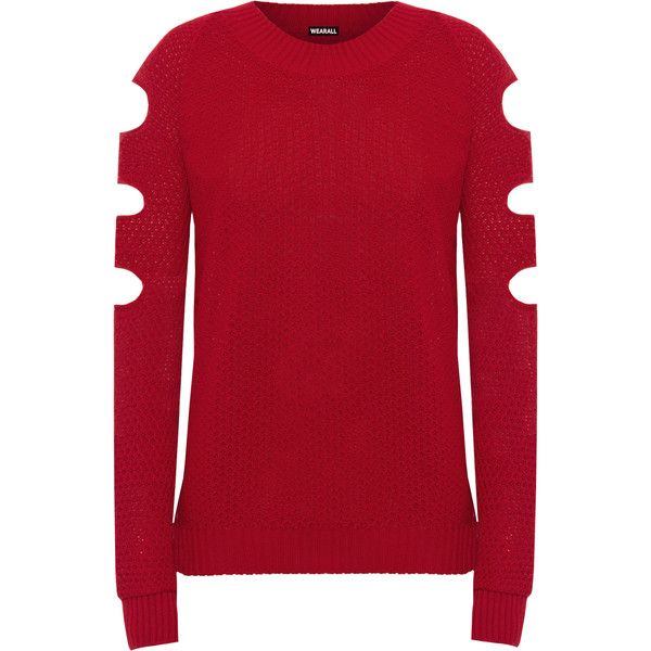 857b21ce05edd Aniya Knitted Off Shoulder Jumper (£15) ❤ liked on Polyvore featuring tops