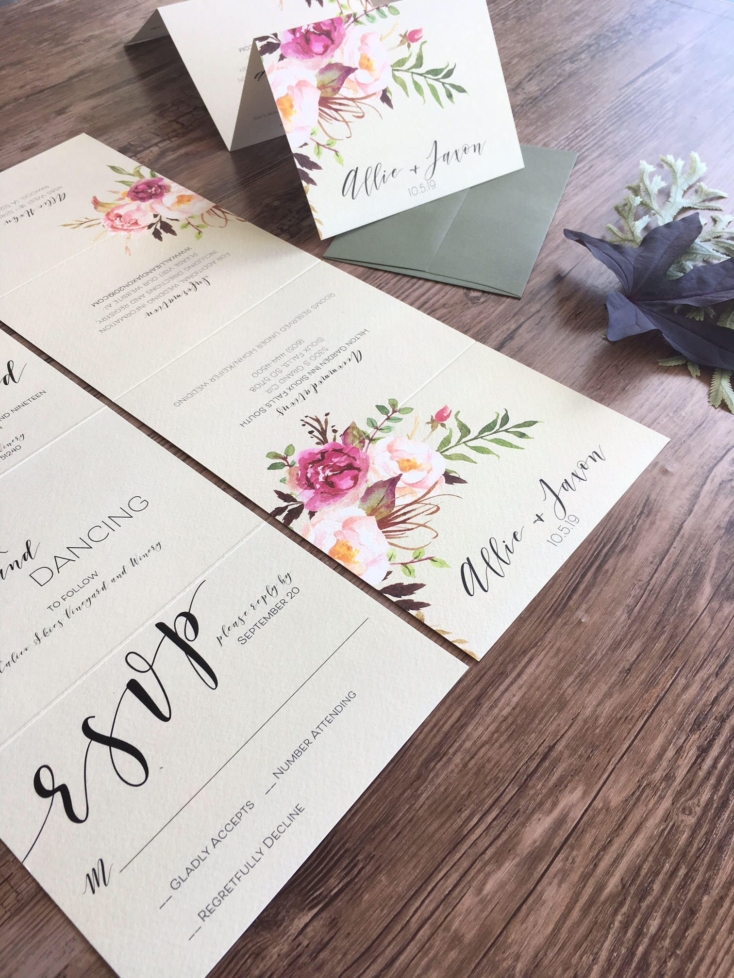 Fall Floral Wedding Invitation Suite · Calligraphy Wedding ...