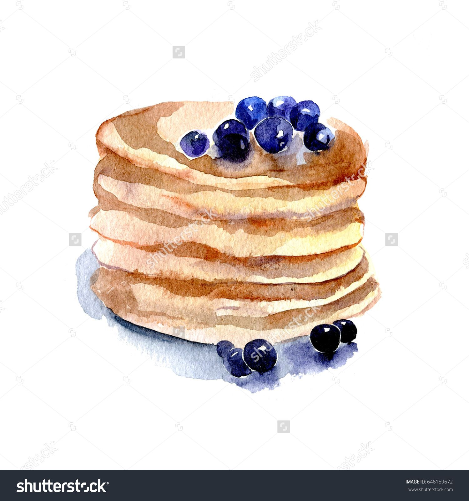 Delicious Pancake With Blueberries Hand Drawn Watercolor