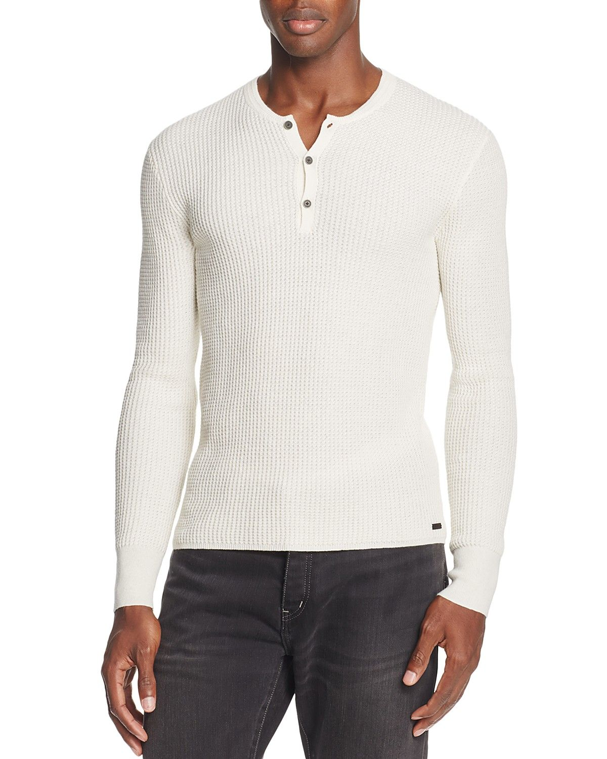 c2633084697f5 John Varvatos Star USA Long Sleeve Waffle Knit Henley | Casual ...