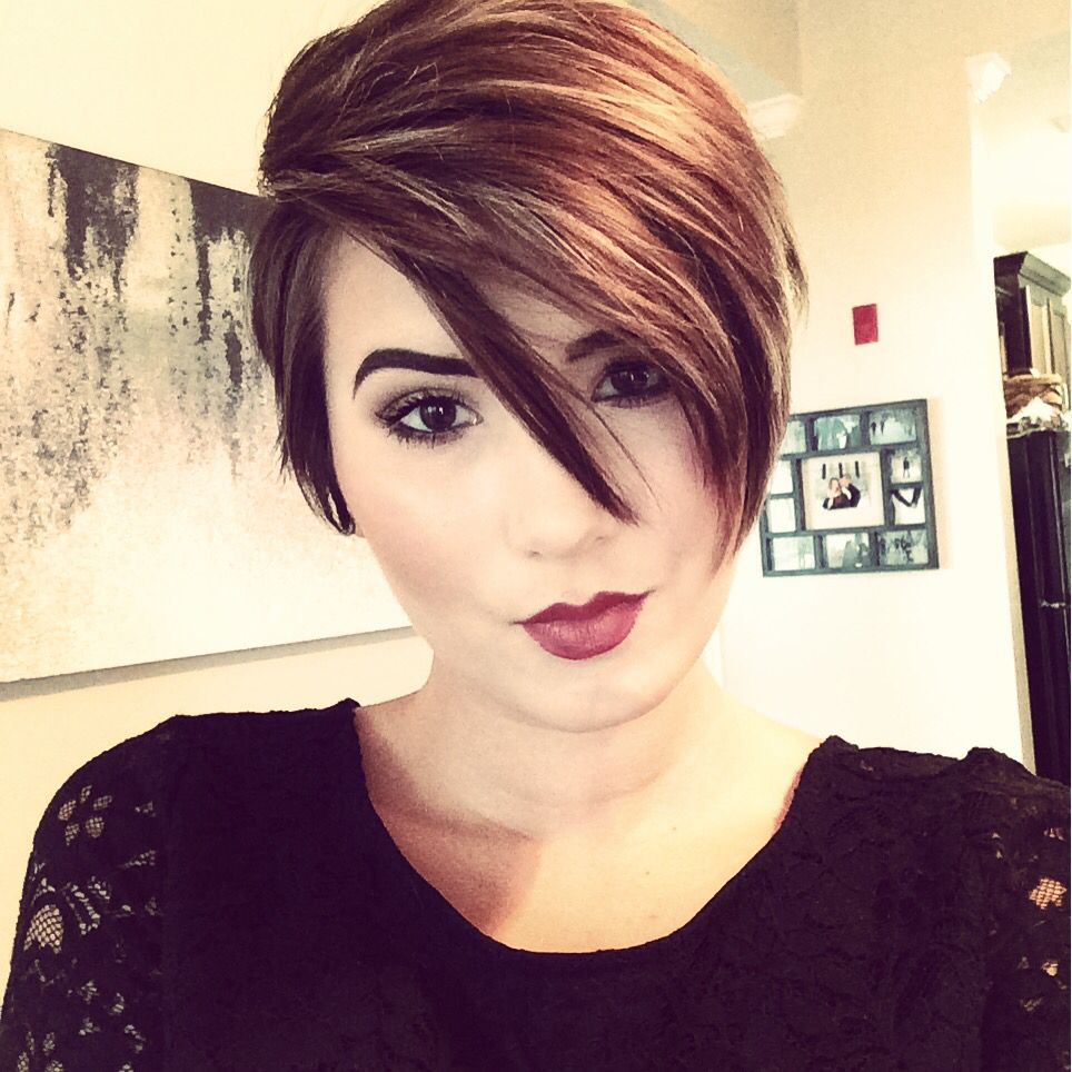 My new long pixie cut. Assymetrical part. Brown hair with ...