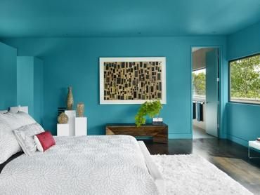 Cyan Paint Wall Decorated Bedroom Painted Rectangle Wall Art Decors Floral Motive Bed Wooden Best Bedroom Paint Colors Aqua Blue Bedrooms Bedroom Paint Schemes