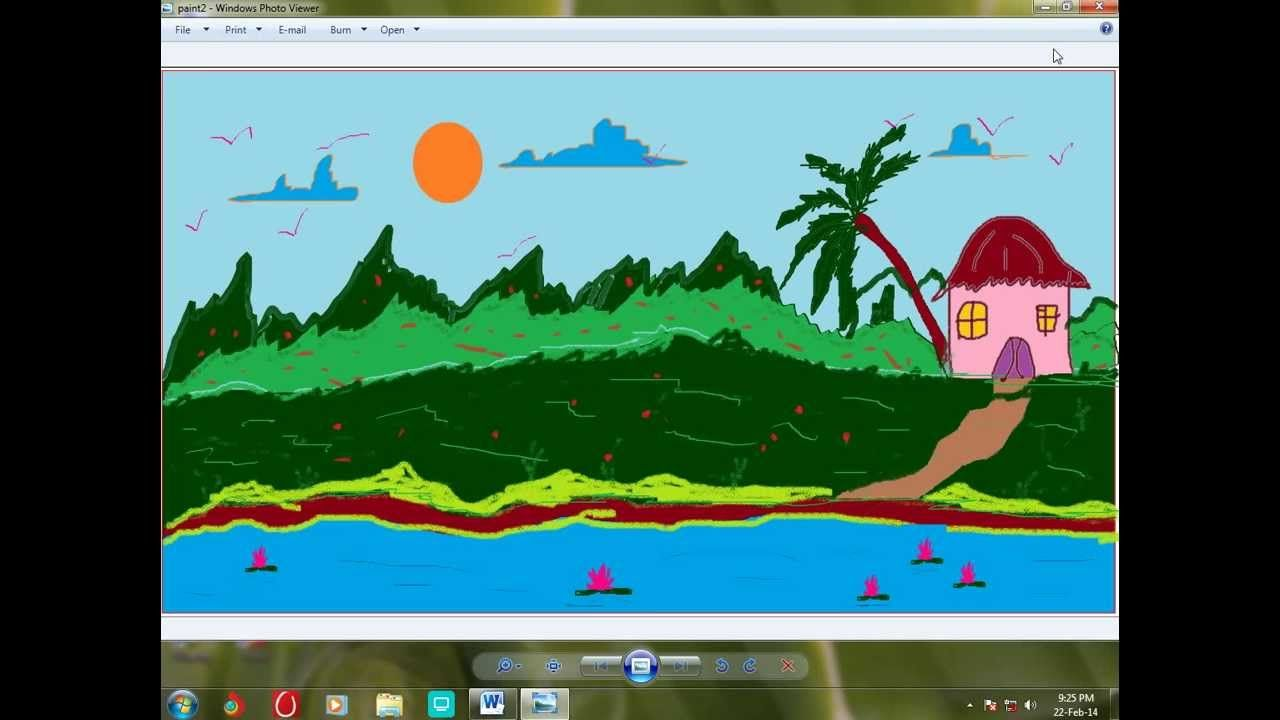 How To Draw A Scenery Using Paint Brush In Windows 7 Painting