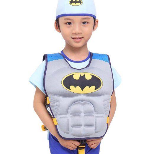 Batman Swim Vest Learn-to-Swim Floatation Jackets for Kids, M, 2-8 Years Old