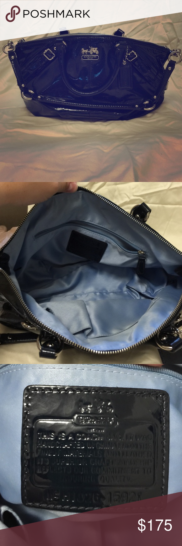 """Coach Madison Sophia Patent Leather Cobalt Satchel Authentic Coach Madison Sophia Patent Leather Satchel Convertible Purse in Cobalt  Style 15921 Zip top closureCoach logo on frontSilver tone hardwareInside zip, cell phone and multifunction pocketsMeasures at top 14"""", at bottom 12"""" (L) x 9.5"""" (H) x 3.25"""" (W), handles with 5"""" drop, plus detachable shoulder strap with 9.5""""dropa few very faint markings on interior100% authentic with original Coach logo dust bagcomes from smoke free home Coach…"""
