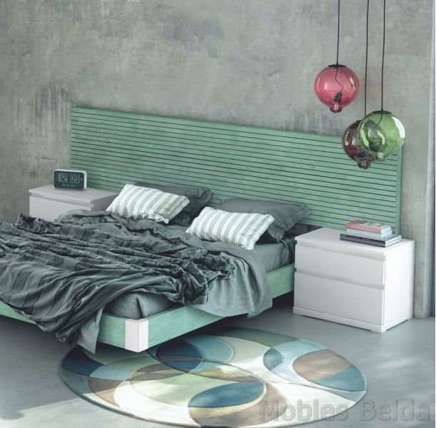Dormitorio matrimonio 260 cm en acabado verde, blanco y detalles ...