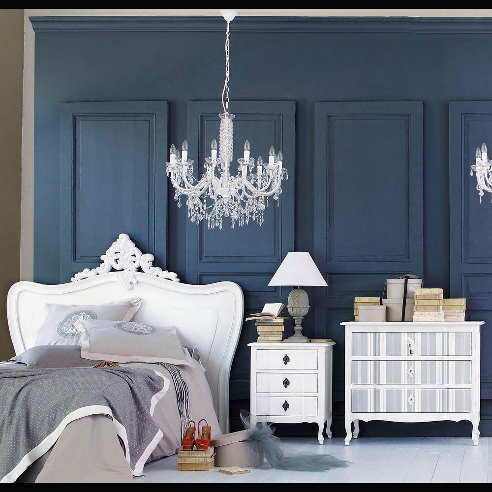 t te de lit blanche l140 white pinterest comte lit 140 et lustre pampilles. Black Bedroom Furniture Sets. Home Design Ideas