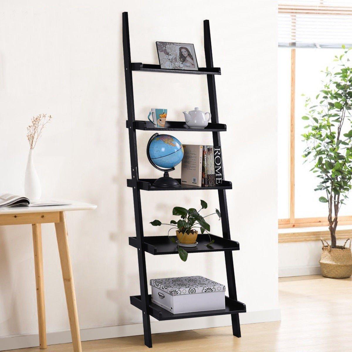 5 Tier Leaning Wall Storage Display Shelf Ladder Shelves Ladder