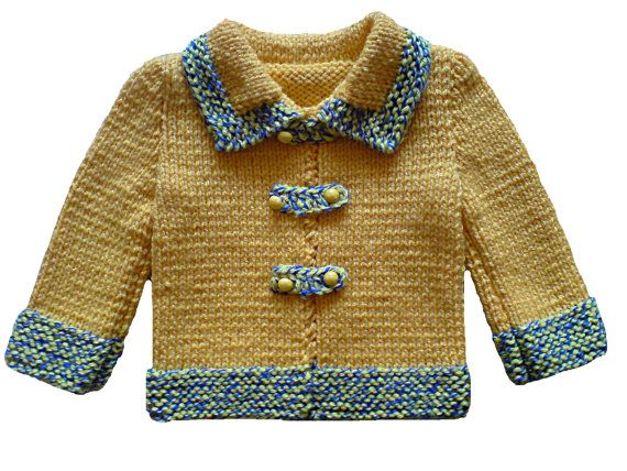 Yellow & Blue Hand knitted baby cardigan. Hand knitted baby sweater. Hand knitted sweater, cardigan. Knit sweater. Knit jacket.