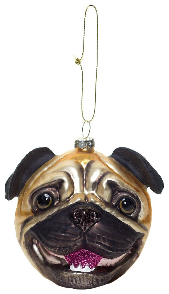 Pug head glass ornament (With images) | Glass ornaments ...