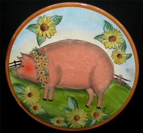 Cracker Barrel Barnyard Animals PIG Country Store SUSAN WINGET Salad Plate 8.5\  & Cracker Barrel Barnyard Animals PIG Country Store SUSAN WINGET Salad ...