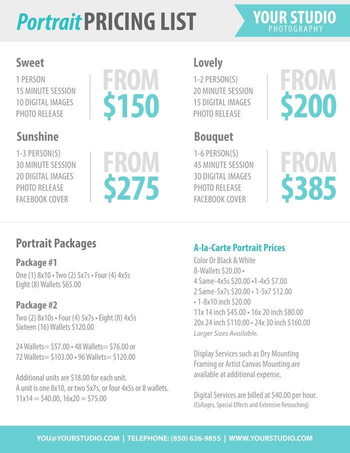 Photography Package Pricing - Photographer Price List - Marketing - blank histogram template