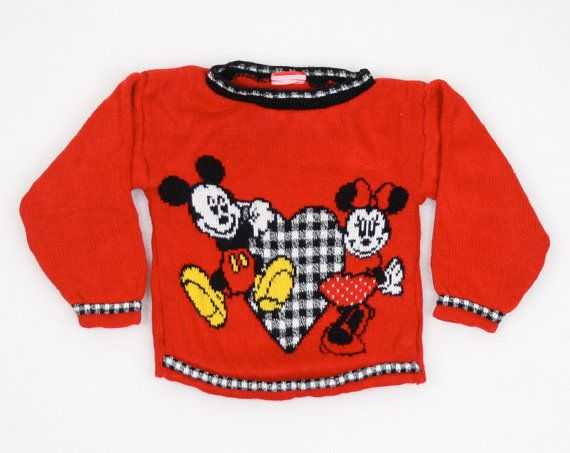 Vintage Little Girl Sweater Toddler Sweater Kiddo Jumper Mickey Mouse Minnie Mouse Heart Valentines Day Pullover Red Black Knit 4T Disney