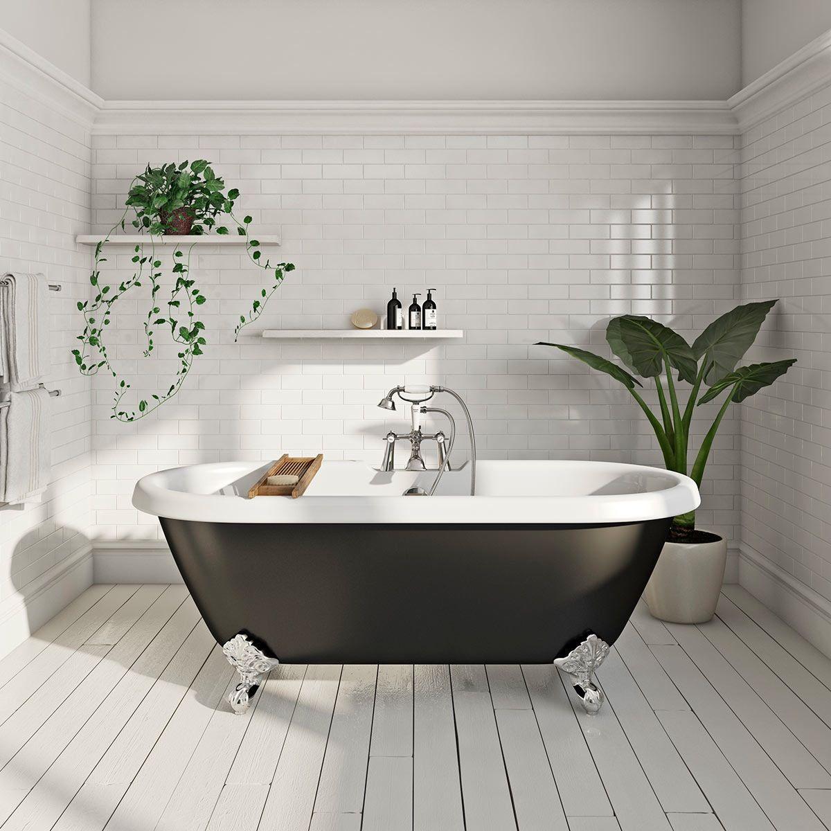 The Bath Co. Dulwich roll top bath with ball feet black | Bathrooms ...