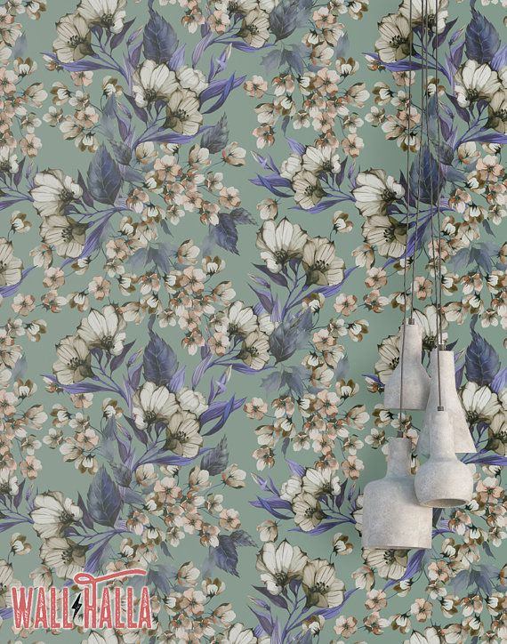 Blue Flower Wallpaper Removable Wallpaper Flower Buds