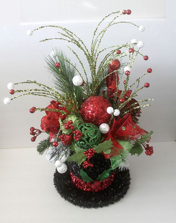 Superb Christmas Decor Centerpiece Snowman Hat Table Decor Home Interior And Landscaping Ologienasavecom