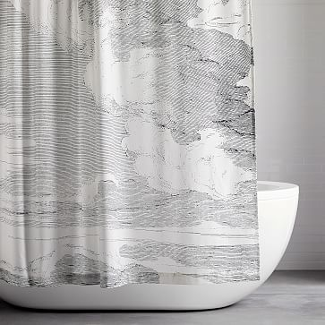 Organic Clouds Shower Curtain And Liner Modern Shower Curtains