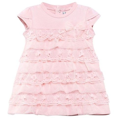Pink Tiered Lace Dress
