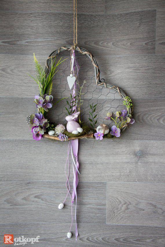 Door wreath heart door wreath times different Easter decorations spring Easter door wreath spring decoration