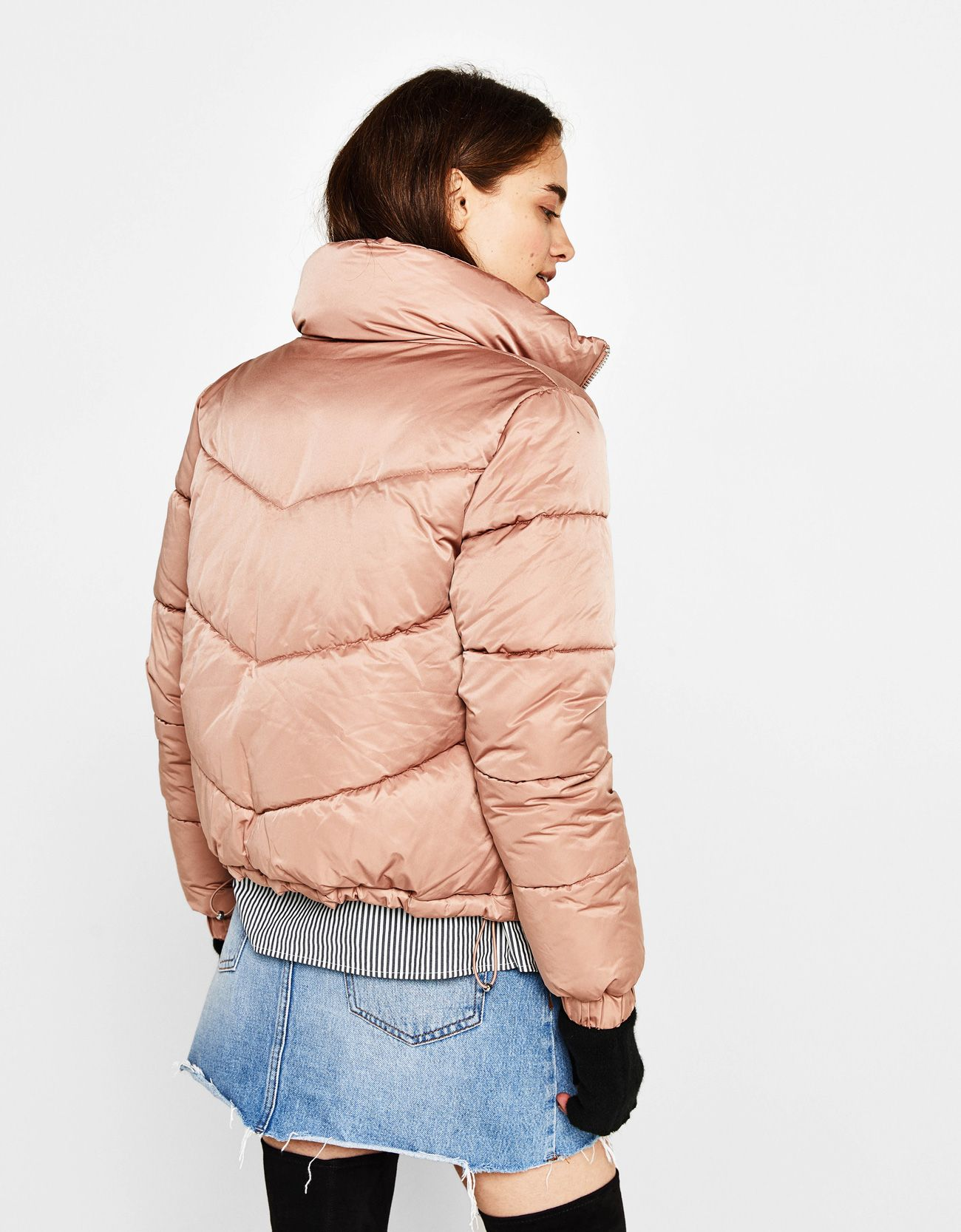 Puffer Jacket With Gathered Hem Discover This And Many More Items In Bershka With New Products Every Week Jackets Puffer Jackets Outerwear Women [ 1667 x 1300 Pixel ]