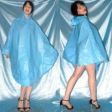 anschmiegsamer VINYL REGENPONCHO* PVC Cape* Umhang* gummig weich & glänzend blau