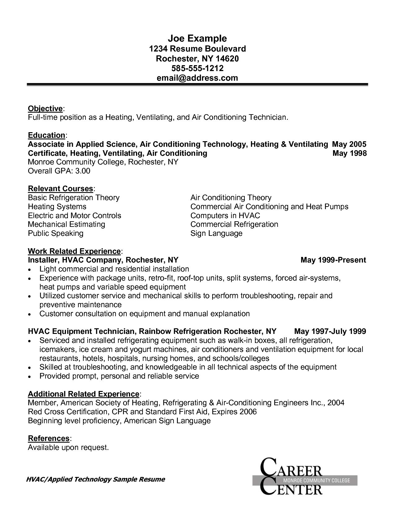 resume templates hvac resume resumetemplates templates - Hvac Resume Template