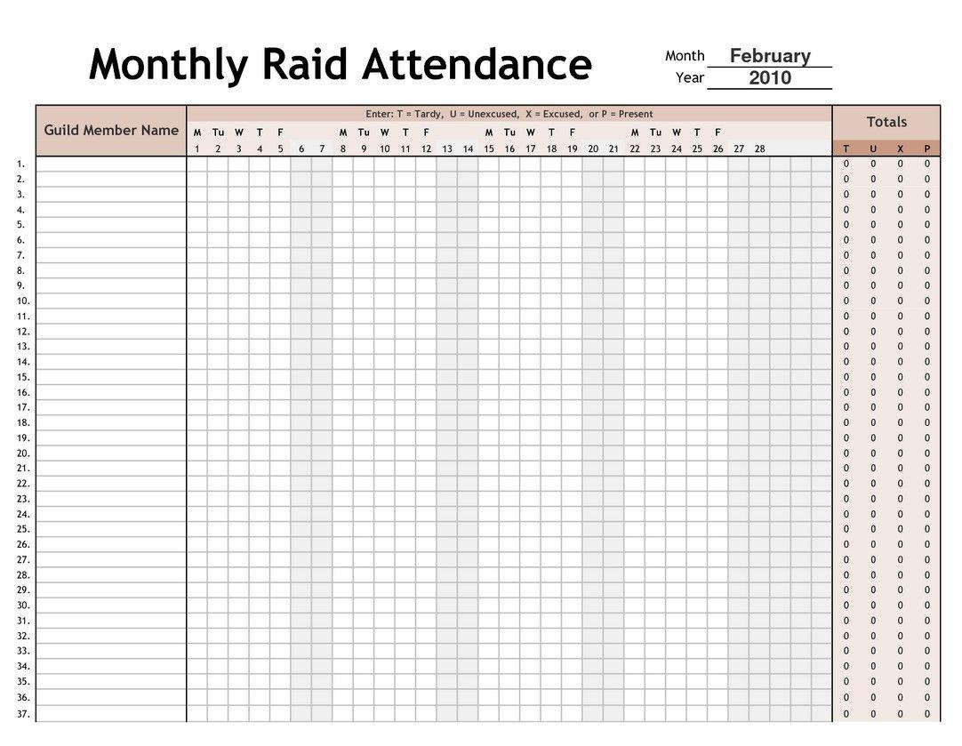 Printable 2017 Employee Attendance Calendar 4 | Calendar ...