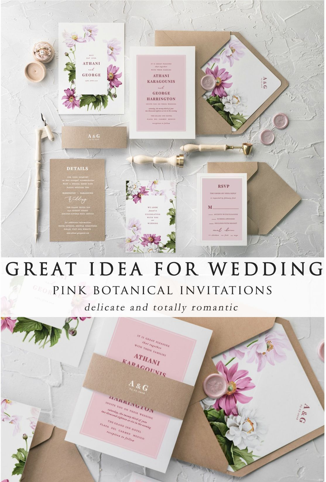 Great idea for spring and summer weddings - romantic pink botanical ...
