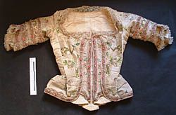 18th century bodice jacket  Research on a selection of woman's dress and bodices dating from the 3rd quarter of the 18th century in a particular style located in Malta, consisting of the introduction of a new database for museums for costumes, costume accessories with condition report, conservation proposal and recommendation for storage (Collection Casa Rocca Piccola, Valletta).