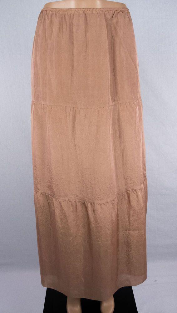 EILEEN FISHER Skirt Size L Light Brown 100% Silk Long Full Length #EileenFisher #FullSkirt