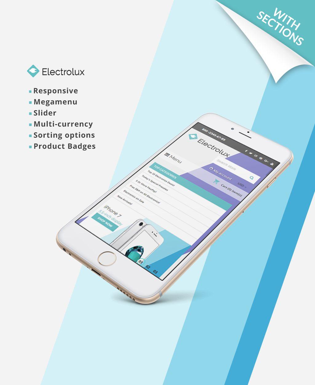 Electrolux Electronics Store Responsive Shopify Theme Website