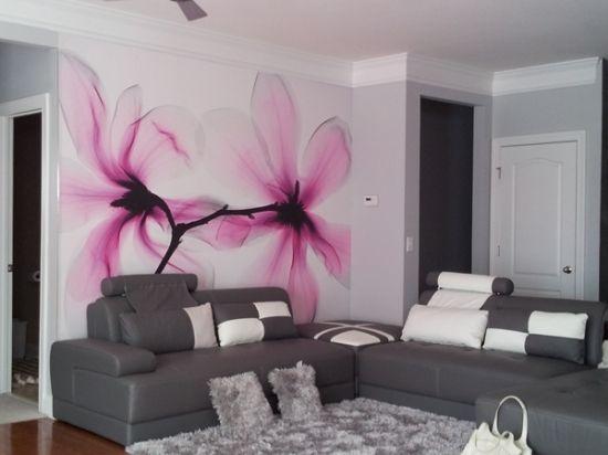 ideen für wandgestaltung wohnzimmer graues sofa wall art - wohnzimmer ideen pink