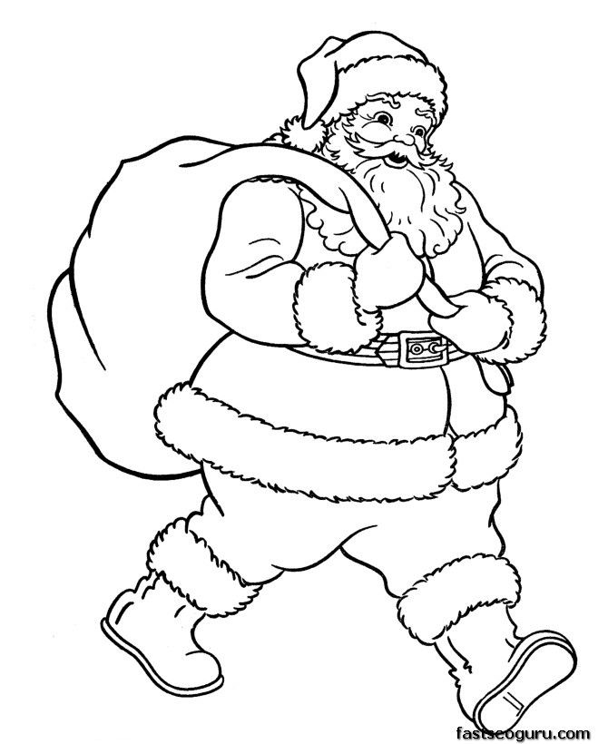 christmas santa claus with christmas gifts bage coloring pages