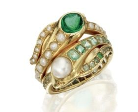 Emerald and Pearl Snake Ring, Last Quarter 19th Century