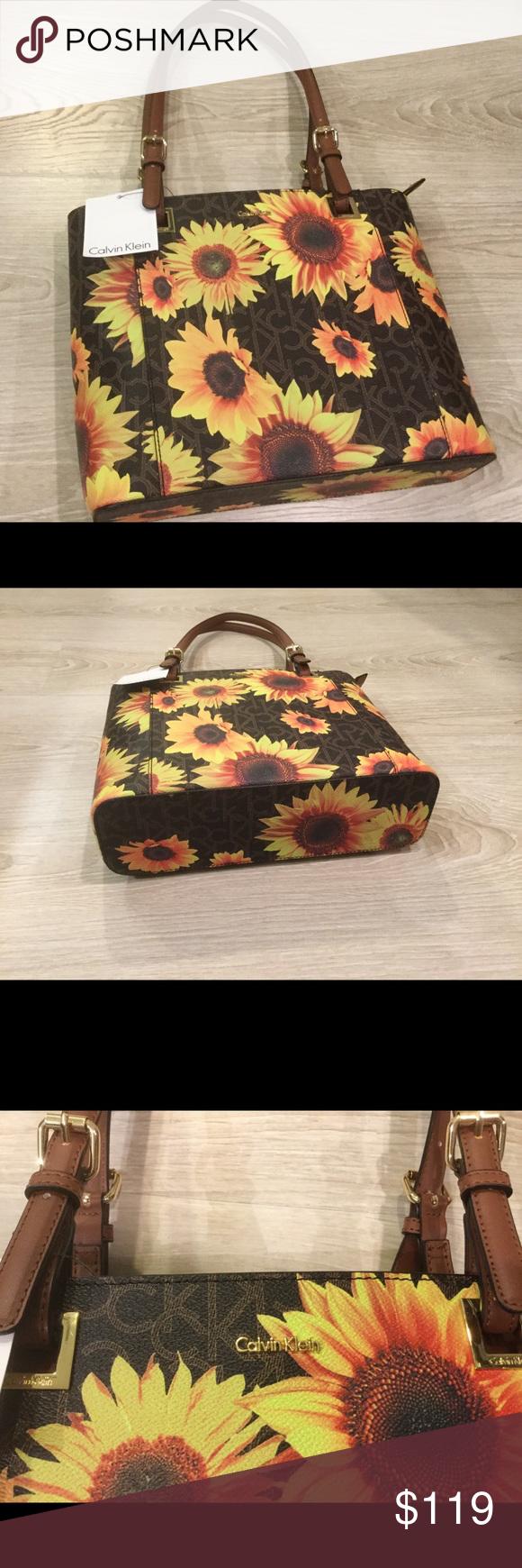 7072f7bcf14 NWT Calvin Klein Sunflower Tote Bag Authentic NWT Calvin Klein Sunflower  Tote Bag Calvin Klein Bags Totes