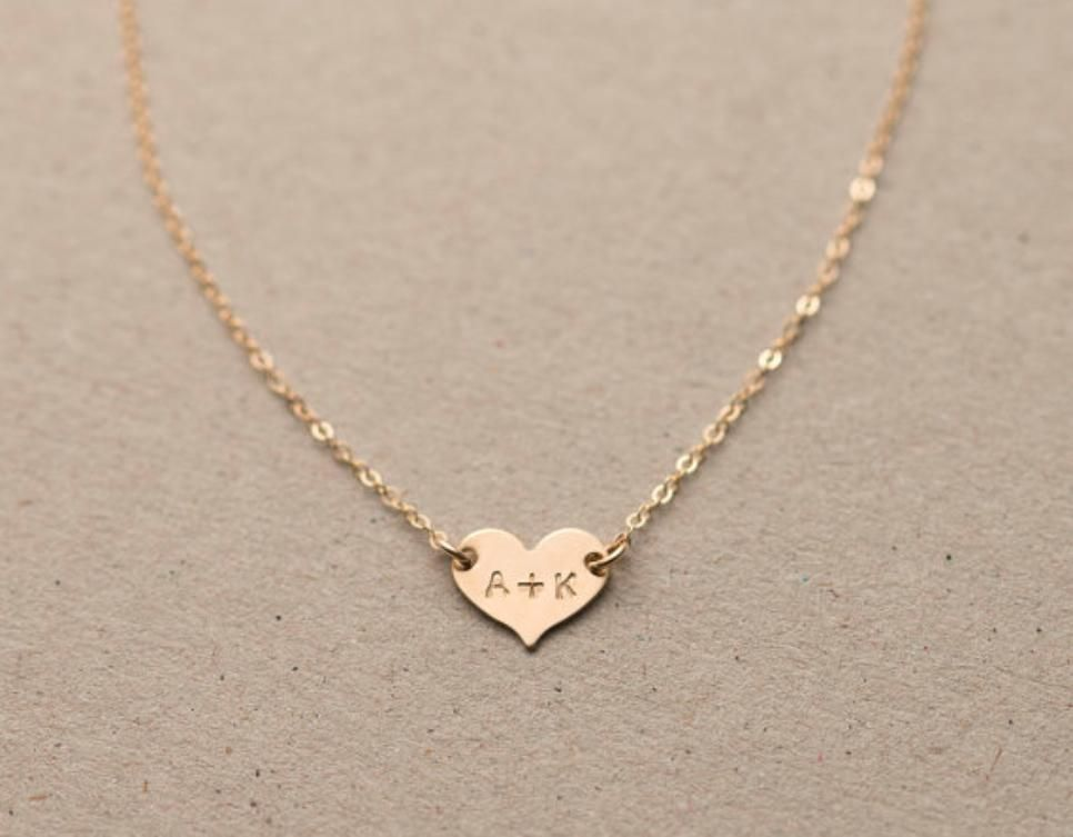 14K Gold You Me Personalized Initials Heart Necklace by JEWLR