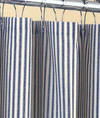 blue ticking stripe shower curtain navy