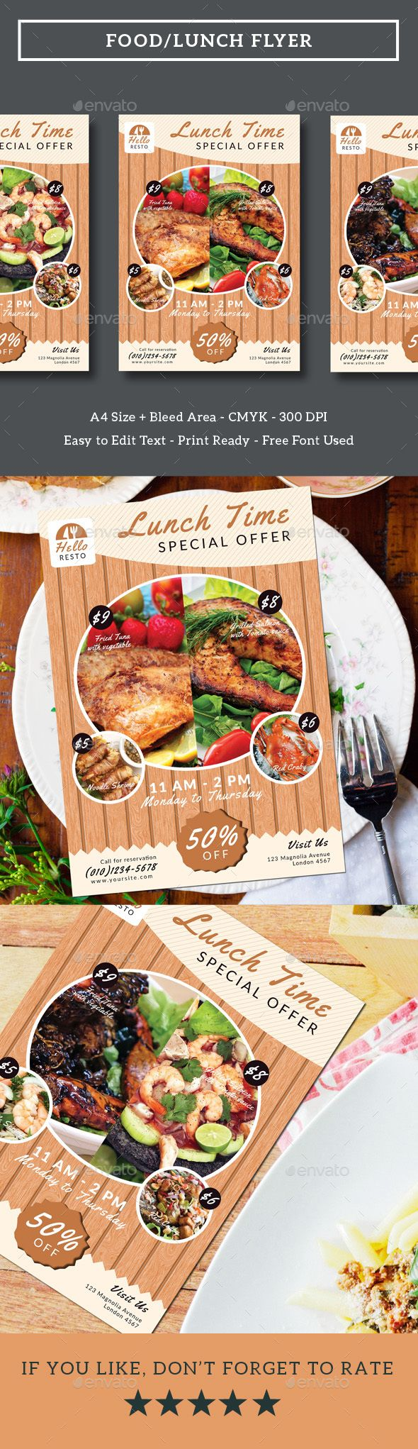 FoodLunch Flyer  Flyer Template Template And Edit Text